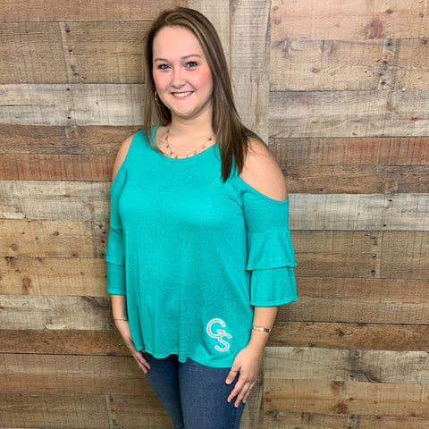 Mint Cold Shoulder Top with Layered Sleeves and Silver Glitter GS