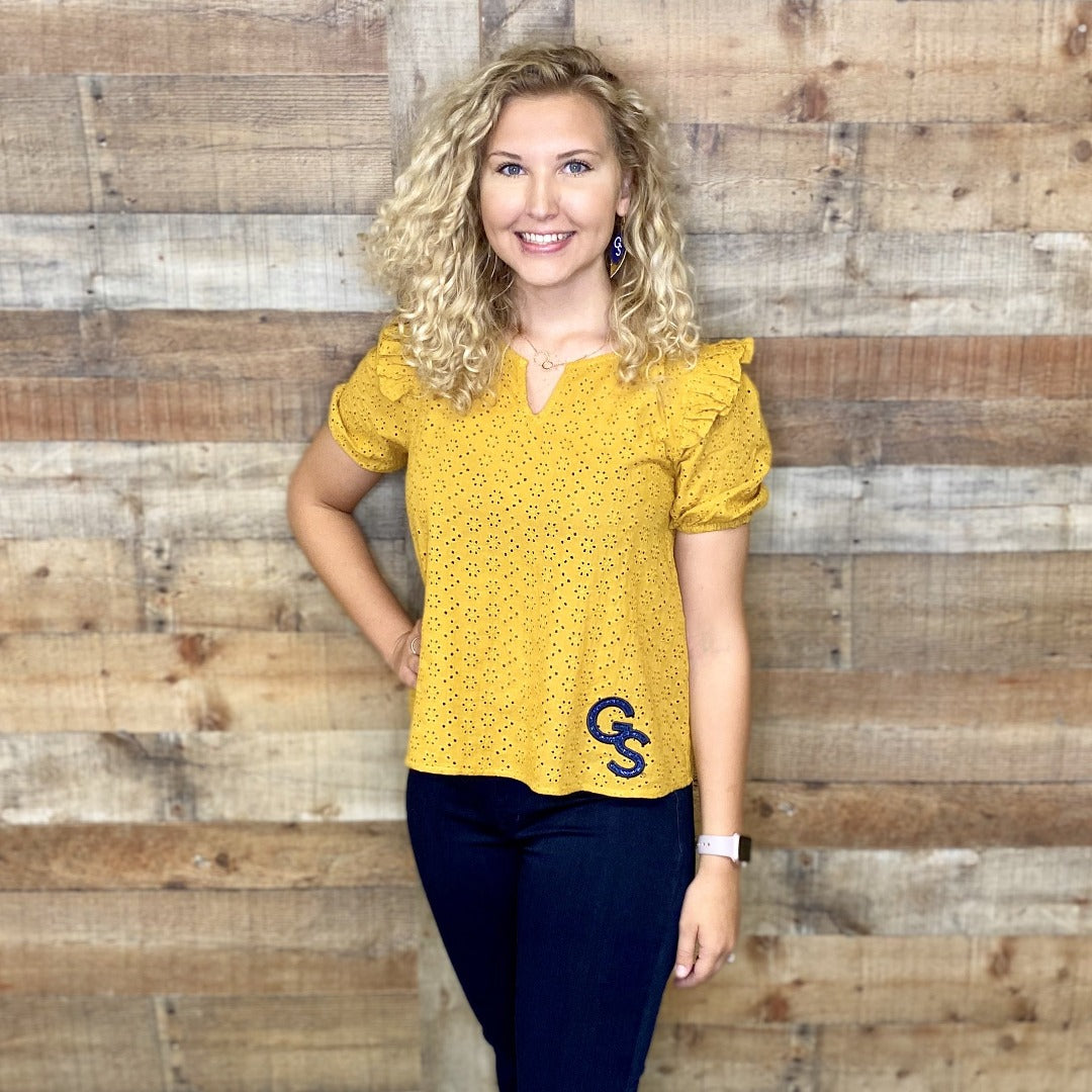 Mustard Ruffle Trim Eyelot Top with Navy Glitter GS