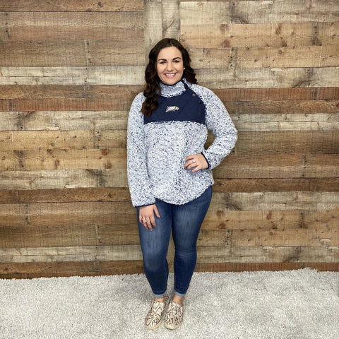 High Neck Sherpa Pullover with Eaglehead