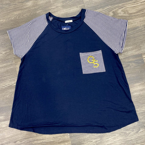 Navy Round Neck Top with Striped Short Sleeves and Gold Glitter GS