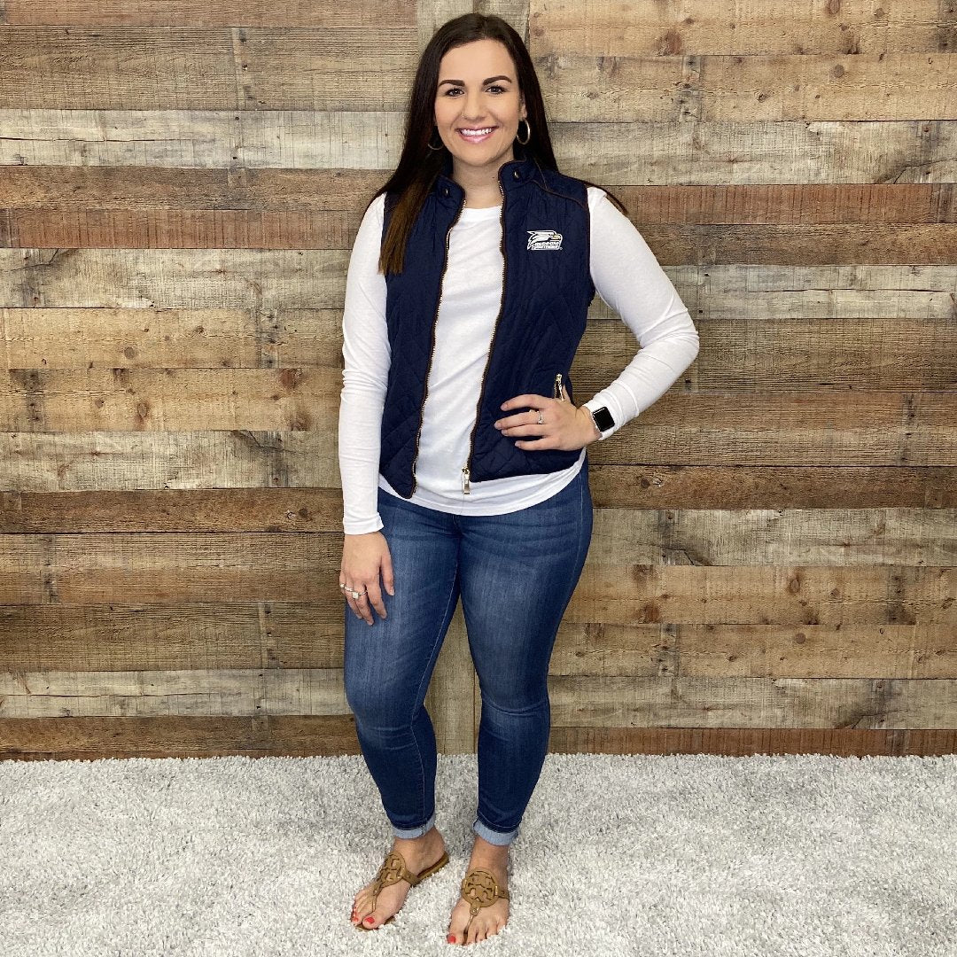 Navy Quilted Front Zipper Vest Georgia Southern Athletic Logo