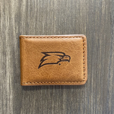 Tan Leather Magnetic Georgia Southern Money Clip