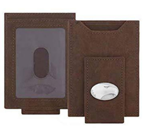 Georgia Southern Brown Crazy Horse Leather Front Pocket Wallet