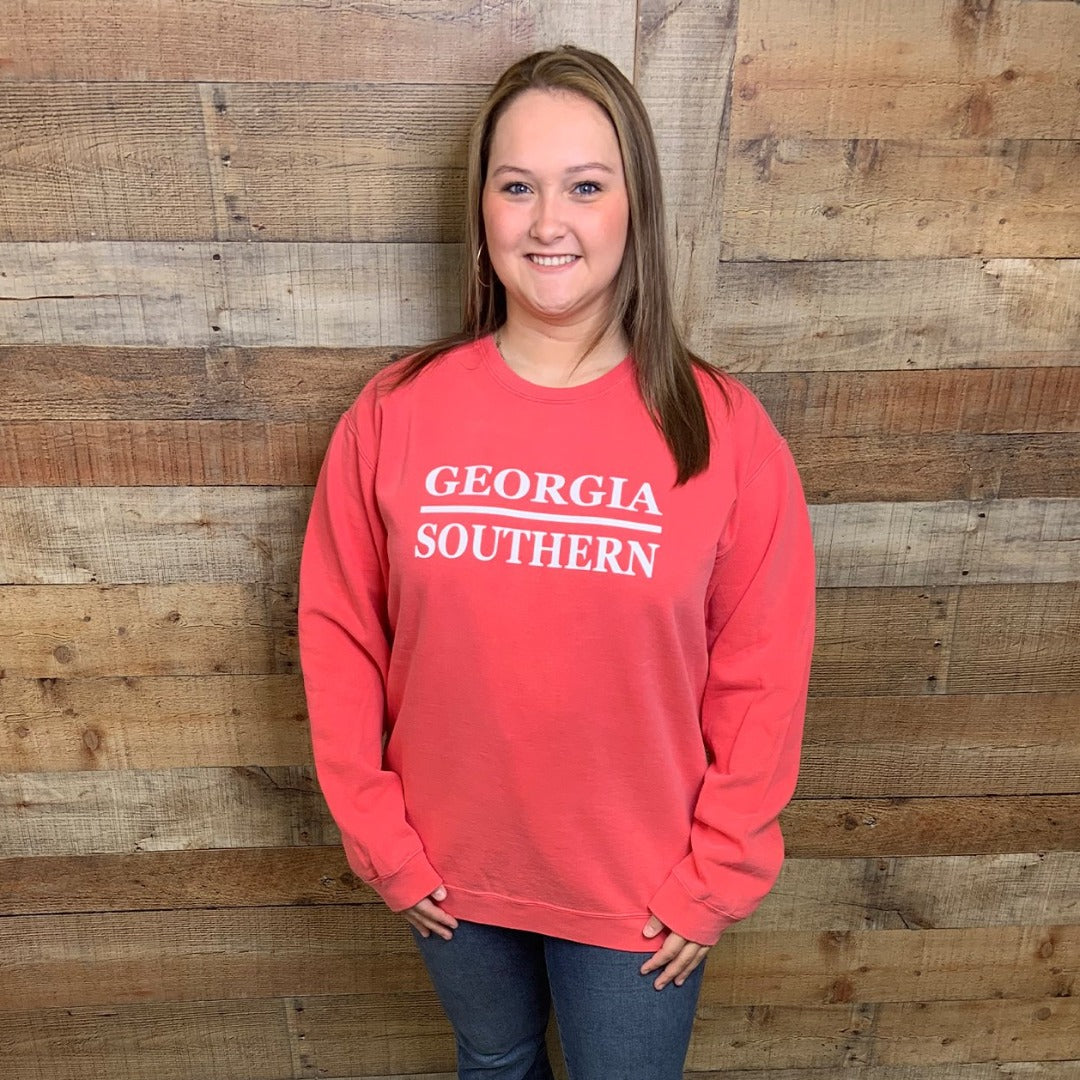 Georgia Southern Stacked Design Crewneck Sweatshirt Watermelon