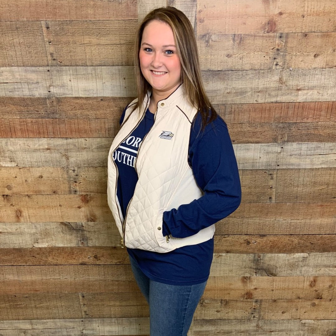 Ivory Quilted Vest with Georgia Southern Athletic Logo