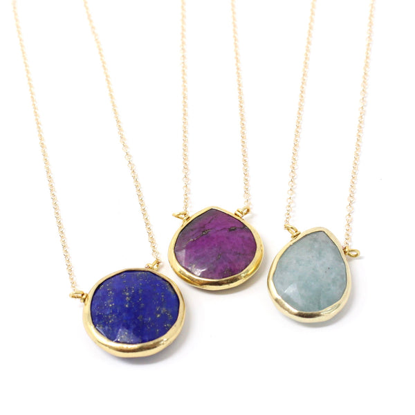 Gold Gemstone Teardrop Necklaces