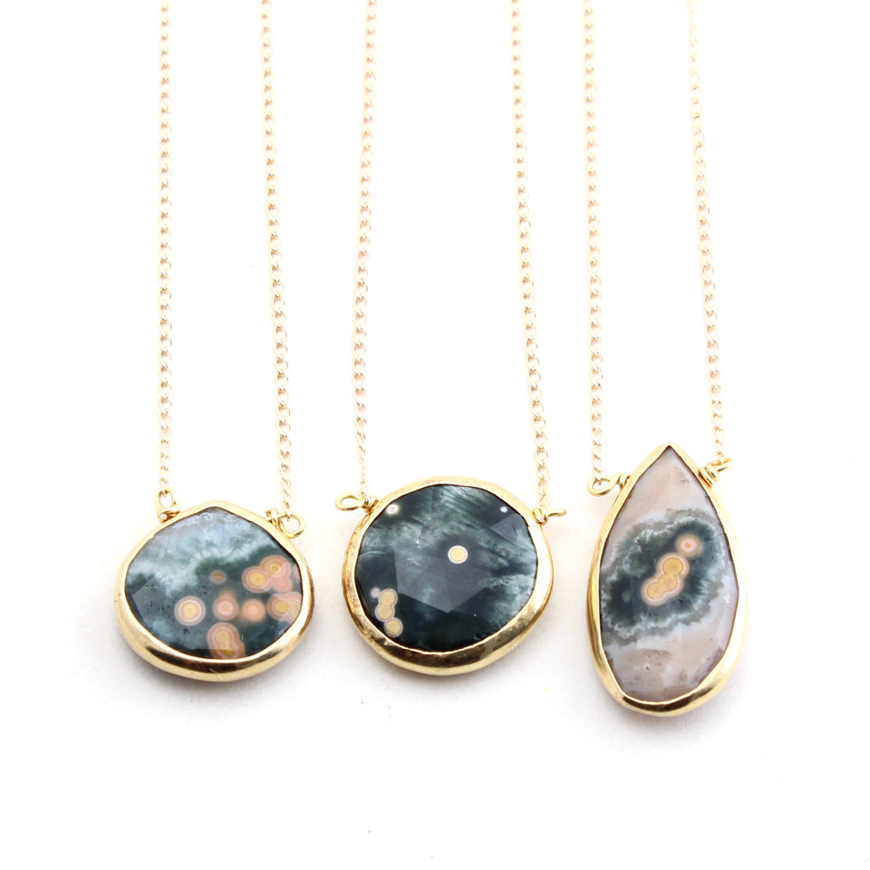 Ocean Jasper Necklace - Gold