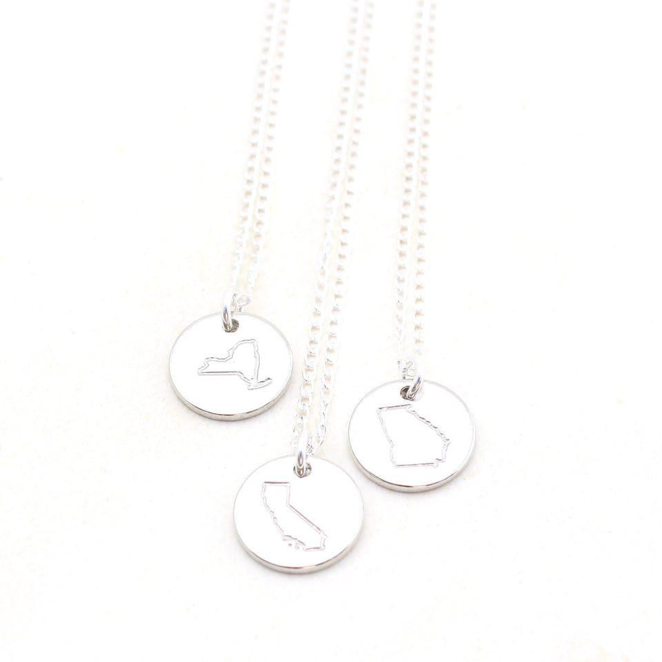 State Necklace - Silver
