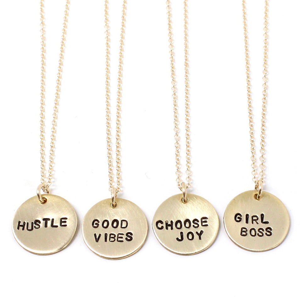 Tiny Phrase Necklace - Gold Large