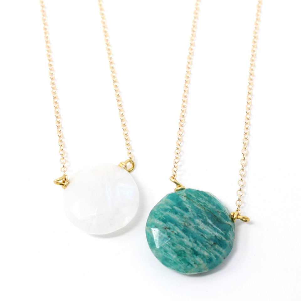 Raw Round Gemstone Necklaces