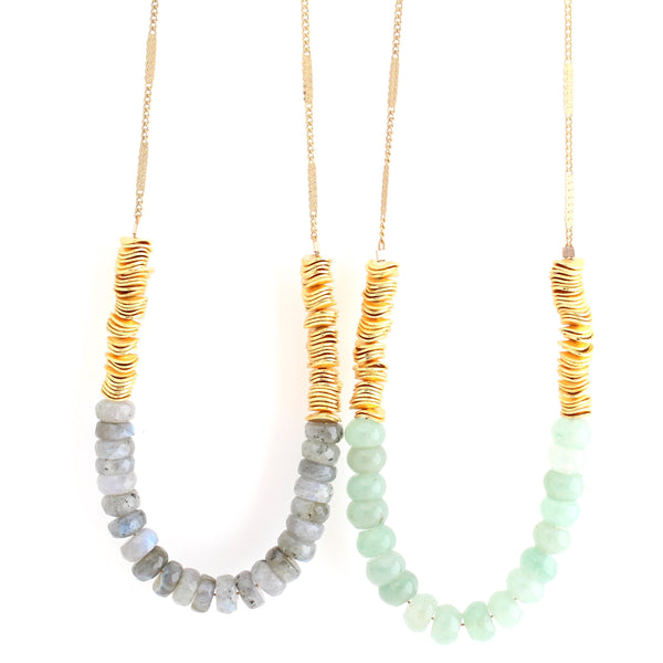 Tide Necklaces - Green & Grey