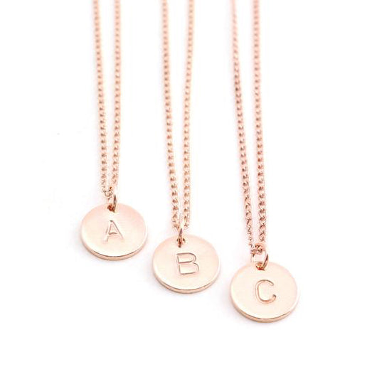 Stamped Letter Necklace - Rose Gold