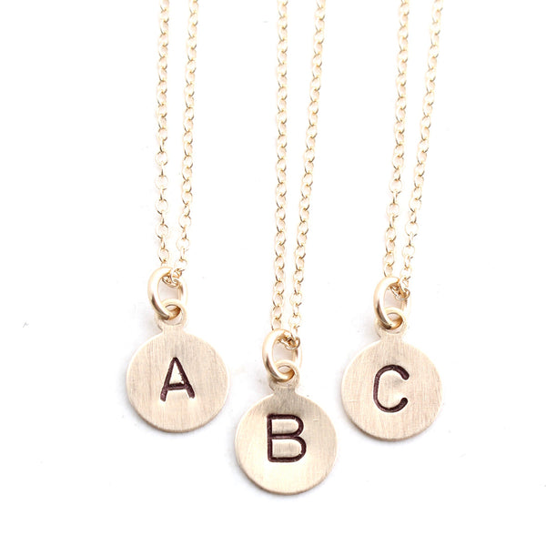 Stamped Letter Necklace - Gold