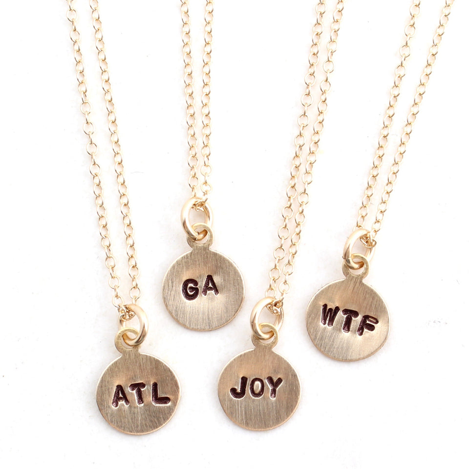 Tiny Phrase Necklace - Gold Small