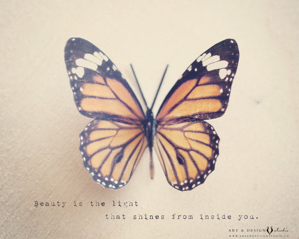Beauty is the Light Butterfly Image and Quote