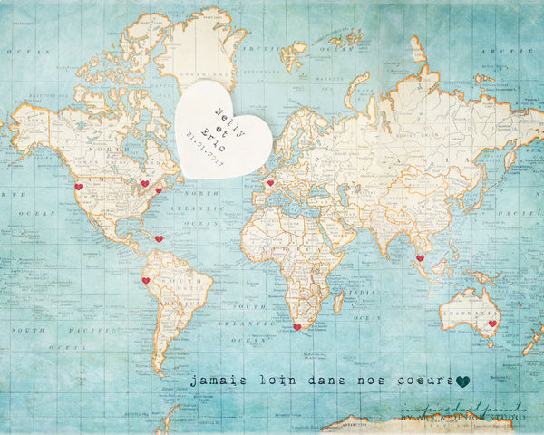 Alternative Wedding Guestbook - World Map