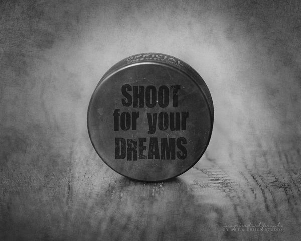 Rustic Hockey Puck Picture with Inspirational Quote