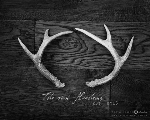 Rustic Antler Art Home Decor Family Print