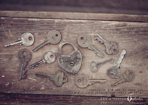 Engraved Key Print - Rustic Family Name Gift