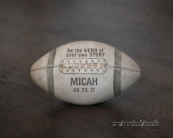 Custom football picture with name and birthday