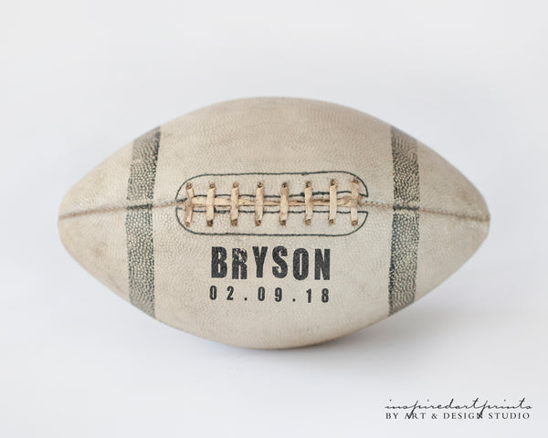 Custom Football Sports Art with name and birthday