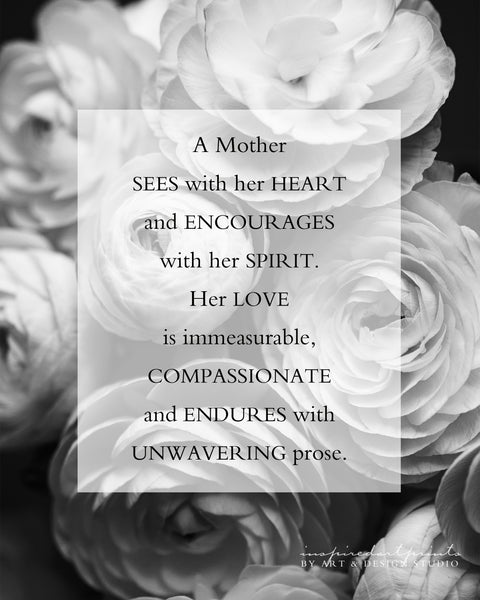 Mom Gift - Mother Poem with Flowers - Mothers Day Birthday Gift for Her