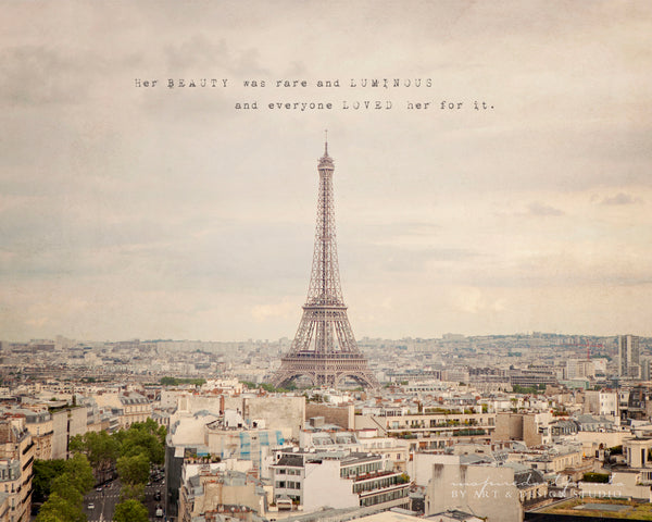 paris photography wall art home decor, paris cityscape, eiffel tower, romantic gifts, poem and picture