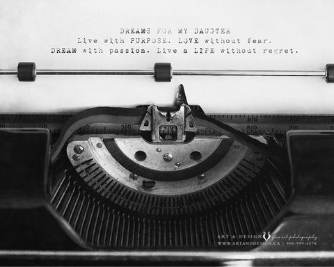 Inspirational Daughter Quote Typewriter Print