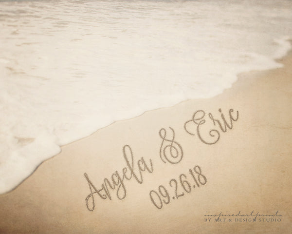 Names in Sand Personalized Print, Beach Writing, Beach Theme Wedding Ideas, Destination Beach Wedding Guest Book Alternative, Custom Gifts