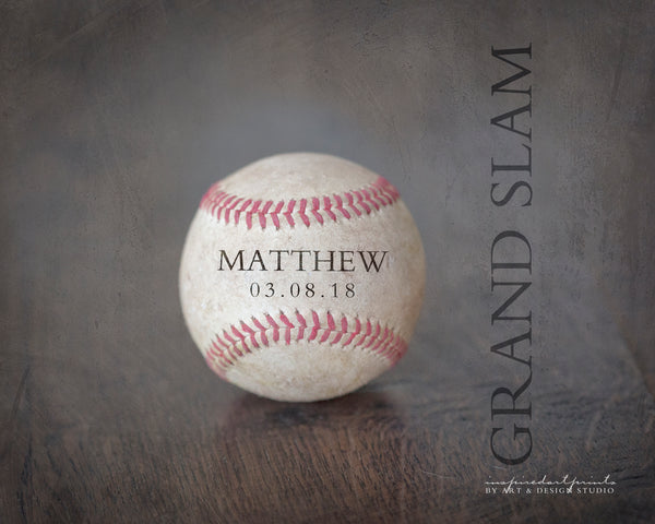 baseball decor wall art print with name and quote