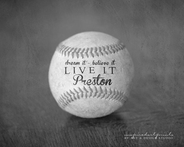 black and white sports art with motivational quote and name