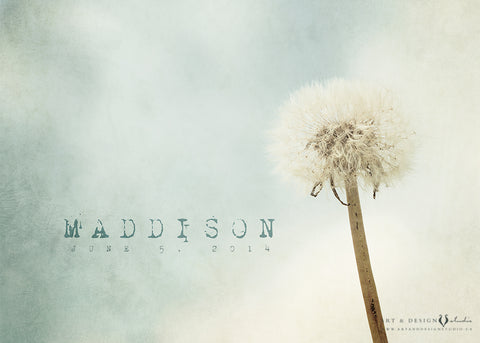 Custom Dandelion Name Art Print