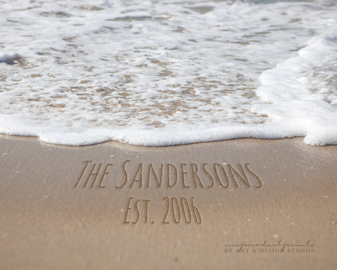 Beach Decor, Personalized Names In Sand Photo, Anniversary Gift, Housewarming Gift, Coastal Decor, Nautical Decor, Beach Writing, Wall Art