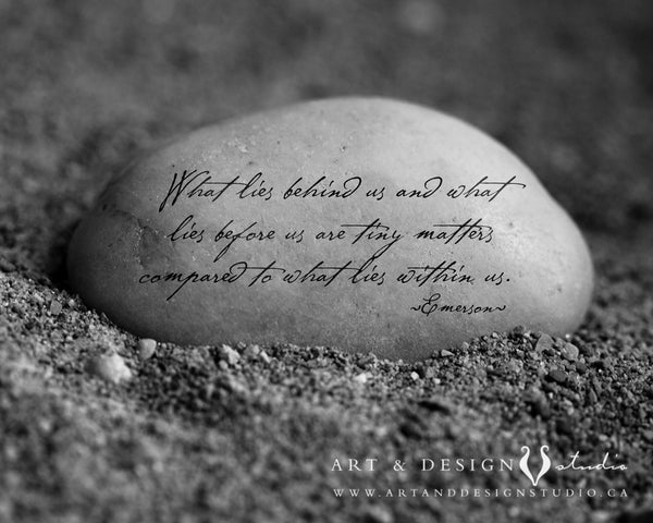 Inspirational art on stone quote