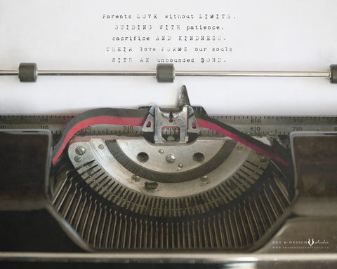 Parents Poem Typewriter Art Print