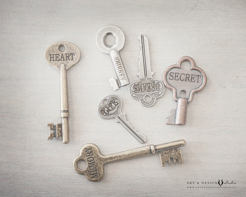 Engraved Key Print, Keys to Life Poster, Keys with Words Artwork, Rustic Home Decor, Inspirational Wall Art