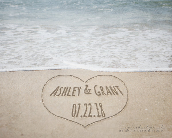names in sand heart personalized beach art