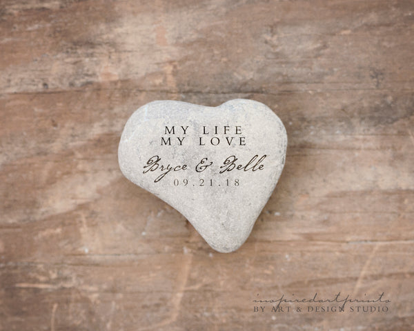 Unique Wedding Gift | Heart stone with text personalized art print wall d_cor inspiredartprints inspired art prints custom photo gifts