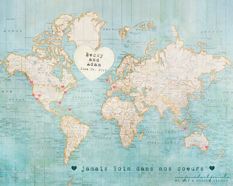 Alternative Wedding Guestbook - World Map personalized art print wall d_cor inspiredartprints inspired art prints custom photo gifts