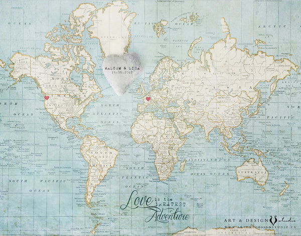 Wedding Gift Personalized - World Map Art Print