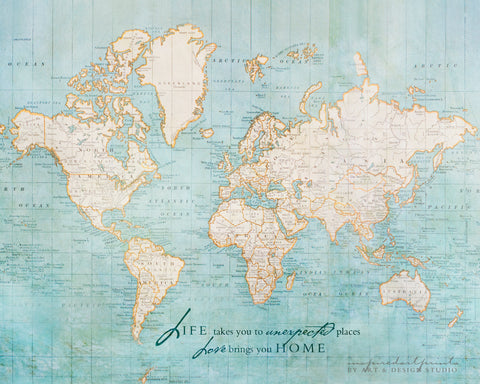 World Map with Inspiration Quote