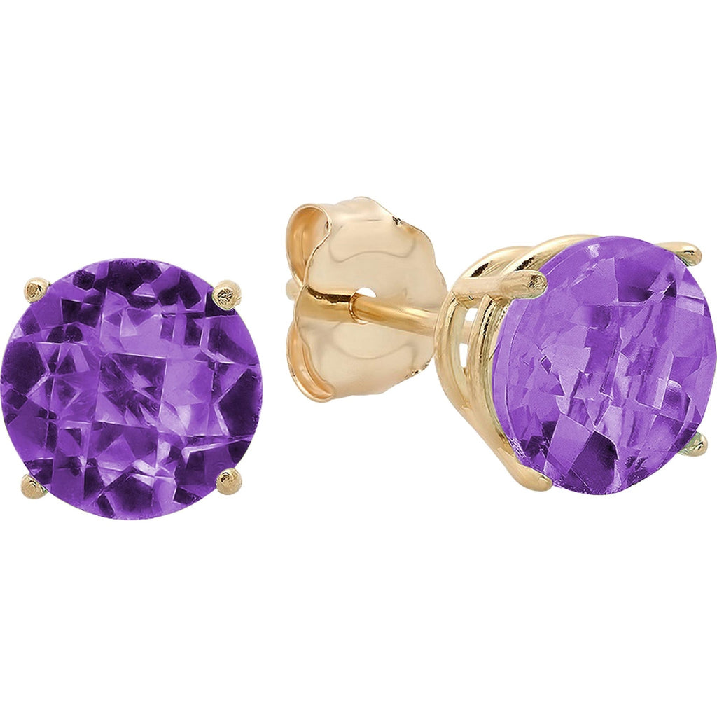 14K Round Amethyst Stud Earrings