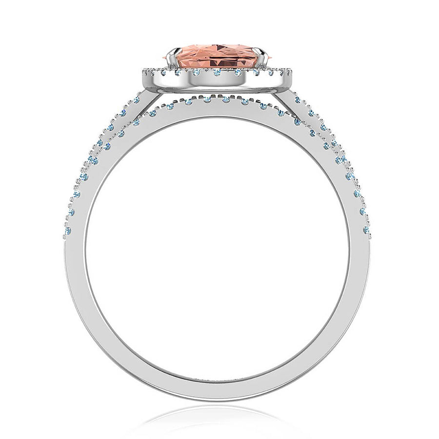 Oval Cut Morganite Diamond Matched Set