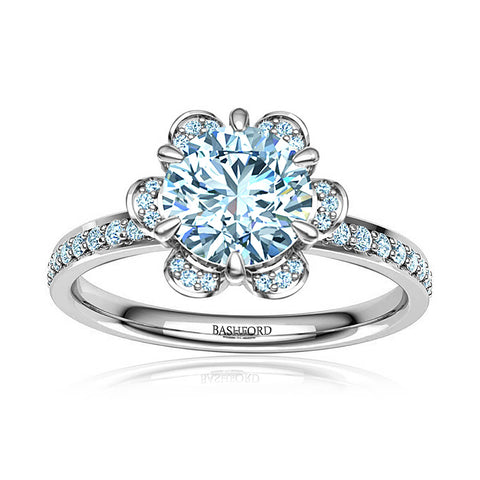 Petite Channel Bezel Diamond Engagement Ring