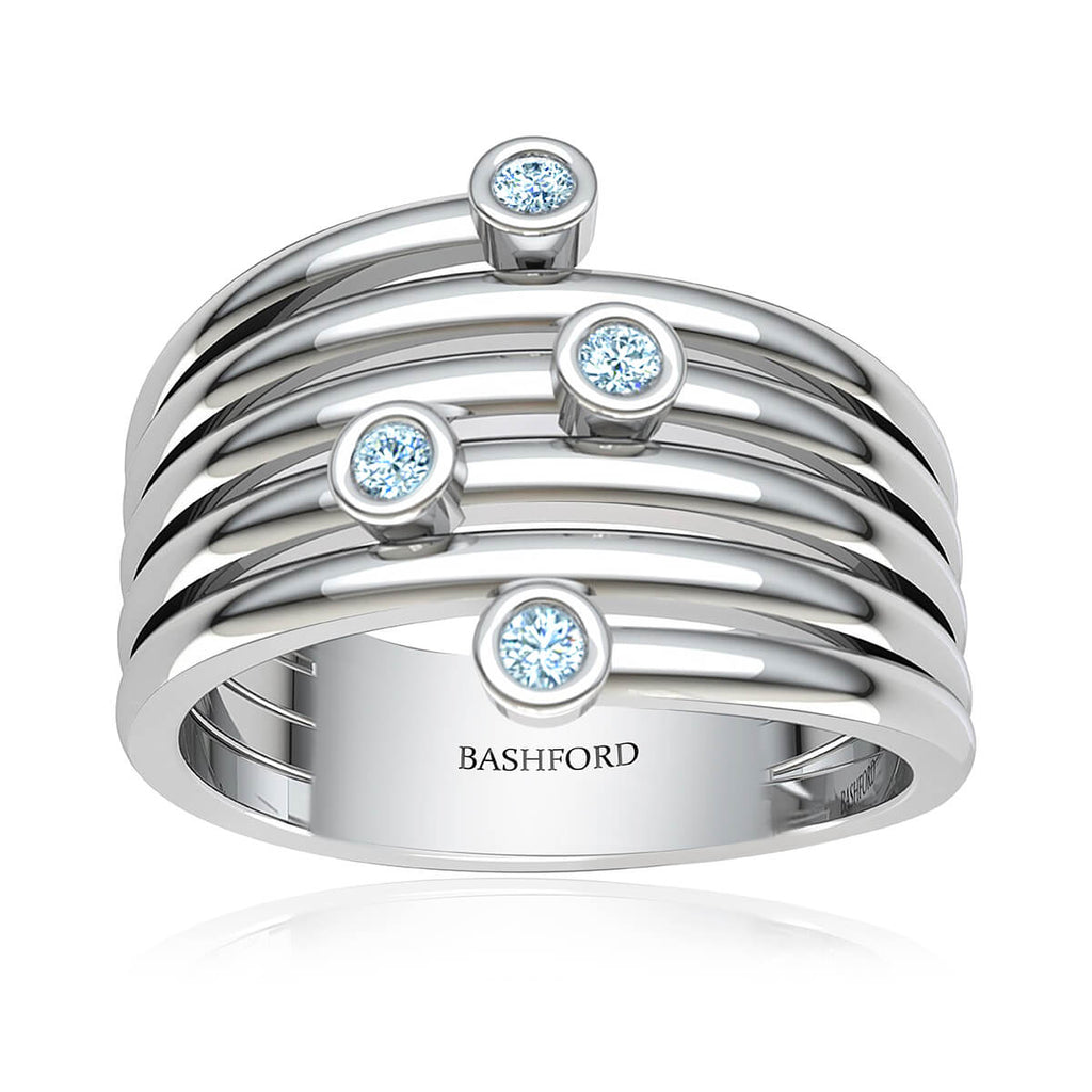 Bezel Diamond Ring Stack