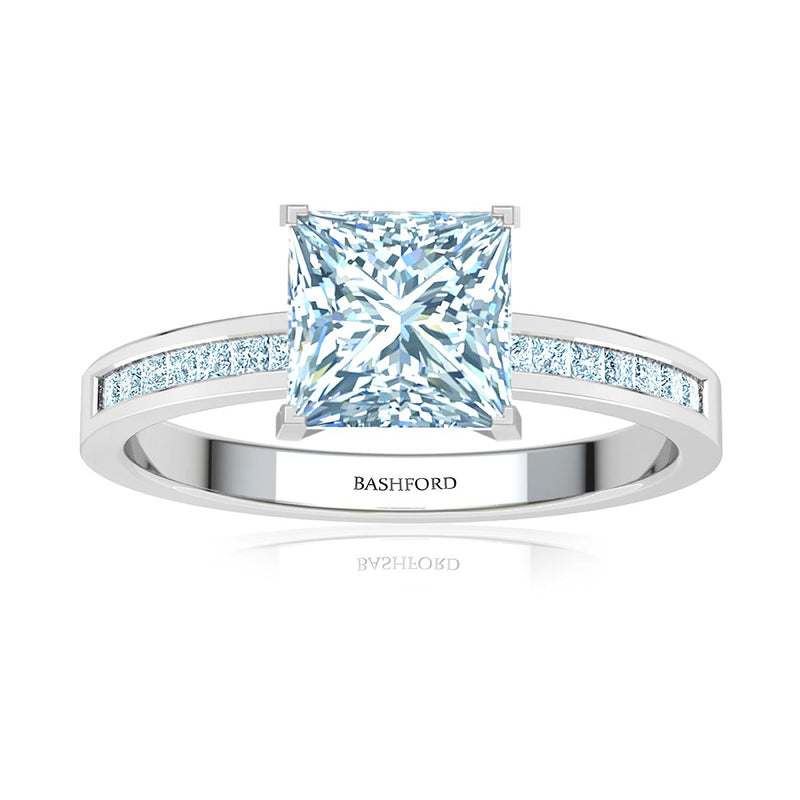 Petite Channel Set Princess Diamond Engagement Ring