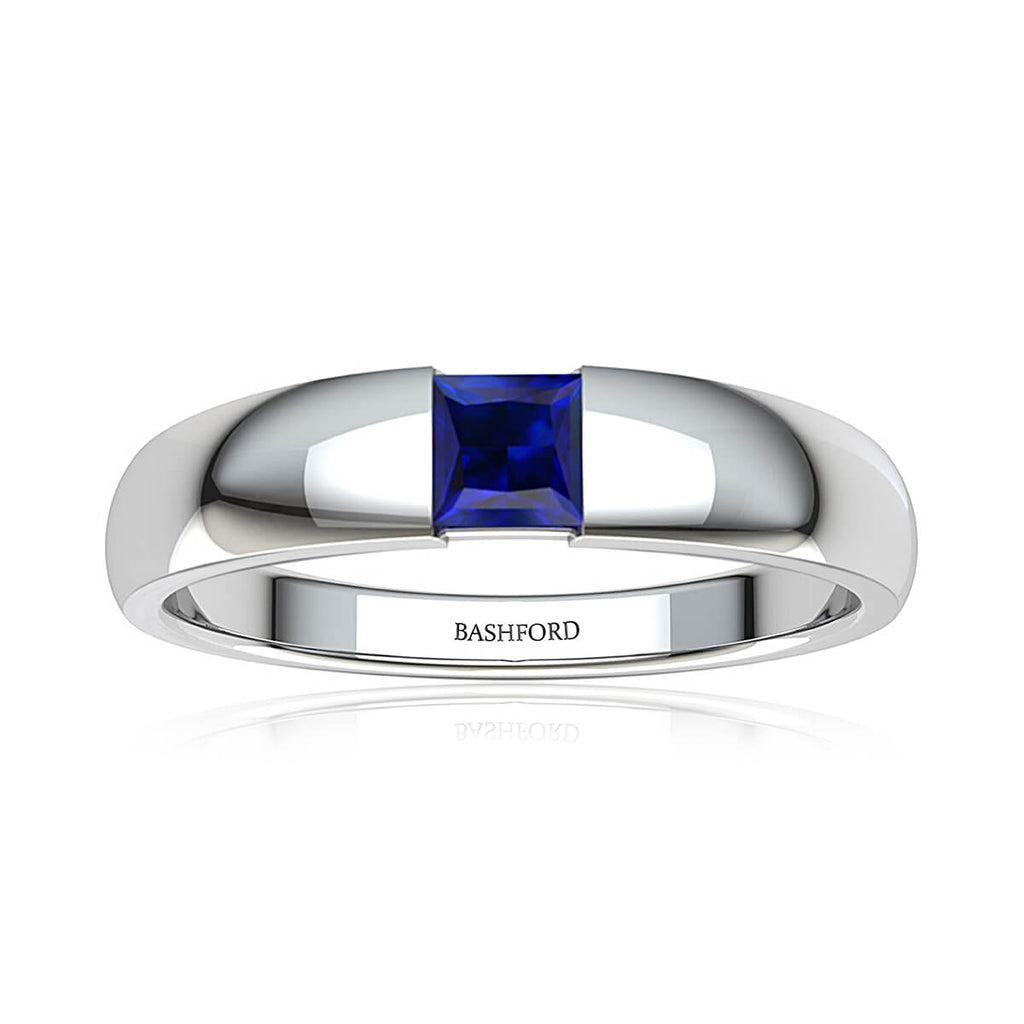 Blue Square Sapphire Band (6 mm)