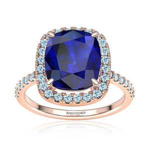 Blue Cushion Sapphire & Diamond Halo Ring