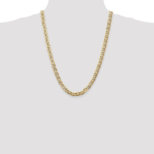 14k Yellow Gold 7mm Concave Anchor Chain