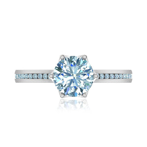 Six-Prong Channel Round Diamond Engagement Ring